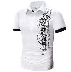 Letter Pattern Men's Short Sleeves Polo Shirt 134319