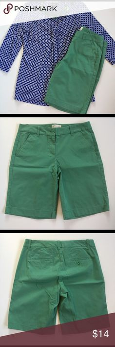 "J. Crew Bermuda Shorts in Spring Green Greenery! The color of the new year. Be an inspiration in these classic Bermuda shorts. 98% cotton and 2% spandex. Excellent condition. 9"" inseam. J. Crew Shorts Bermudas"