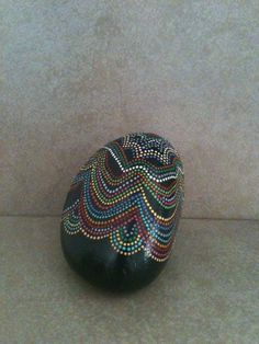 Hand painted stone Abstract Dot Design