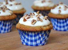 Butter pecan cupcakes with pecan cream cheese frosting for Luke's birthday. So good.