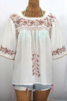 """La Marina"" Embroidered Mexican Peasant Blouse - White + Cocoa-Tone Embroidery #bohemian #hippie #summer #embroidery"