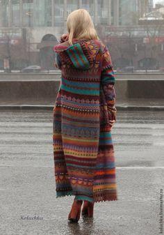 """Купить Пальто """"Жизнерадостное 2015"""" - разноцветный, абстрактный, шерстяное пальто, вязаное пальто, валяное пальто"""