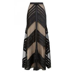 Temperley London Long Lilith Skirt (6,565 SAR) ❤ liked on Polyvore featuring skirts, black, maxi, chevron skirt, long polka dot skirt, long maxi skirts, evening maxi skirt and chevron striped maxi skirt