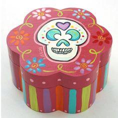 Day of the Dead  Sugar Skull Box 7 Inch by RustiLee on Etsy, $26.99