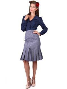 Belinda Herringbone Skirt 0