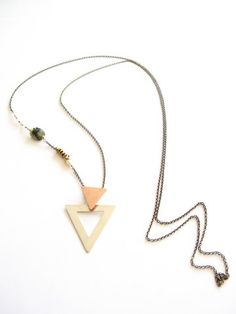 Double Trouble Copper & Sterling Triangle Necklace $150.00 anicejewellery.com