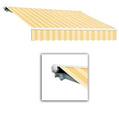 AWNTECH 18 ft. Galveston Semi-Cassette Left Motor with Remote Retractable Awning (120 in. Projection) in Almond Multi, Yellow