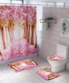 BlossomTree Shower Curtain Floor Mat Four-piece Bathroom Mat Bathroom Shower Curtain Sets, Bathroom Mat Sets, Tree Shower Curtains, Shower Curtain Sizes, Bathroom Rugs, Toilet Mat, Peach Flowers, Bathroom Toilets, Tree Print