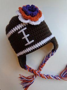 Crochet Girls Clemson Football Hat