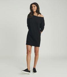 Portia Washed Black Off-The-Shoulder Sweatshirt Dress – REISS Off The Shoulder, Cold Shoulder Dress, Iconic Dresses, Weekend Style, Sweatshirt Dress, Reiss, S Models, Dress Collection, Wardrobe Staples