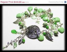 ON SALE Springtime Promise... Handmade Jewelry Bracelet Beaded Cha Cha Owl Branch Leaf Leaves Crystal Gemstone Glass Spring Green Silver Ea