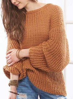 Free Knitting Pattern for 4-Row Repeat Sandbar Pullover - This looks super comfy! Knit with a 4-row repeat tuck stitch pattern, this long-sleeved oversized pullover perfect for cool summer nights. Sizes: Extra Small (Small, Medium, Large, 1X). Designed by Rae Blackledge for Willow Yarns.