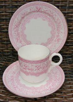 Antique Victorian Aynsley China Pink Transfer Decoration Tea Trio C1880