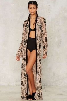 Jaded London Flock Prints Kimono Jacket