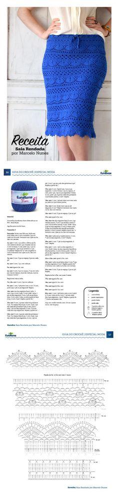 Guia do do Crochê - Moda Especial. Saia Rendada, por Marcelo Nunes - Fio EuroRoma Fiore 500m 8/4, na cor 903 - Azul Royal.