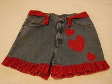 Denim Jean Shorts repurposed cutoffs upcycle Wrangler Waist 34 with red hearts