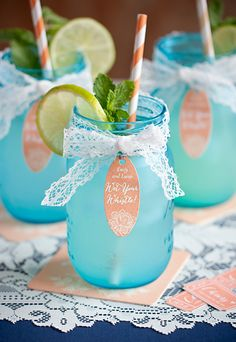 #Wedding Cocktail Bar - Serve up your drinks in mason jars for a vintage or rustic feel. Decorate each jar with lace ribbon and a personalized #favor #tag!