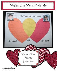 Valentine's Day activities: Super-cute writing prompt for comparison/contrast writing.  A valentine Venn friend!  Completed projects make a fantastic February bulletin board too.