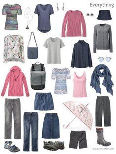 sixteen piece travel capsule wardrobe in grey, denim blue and pink