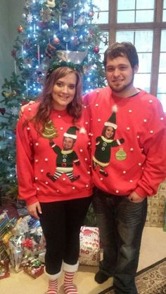 Ugly Christmas Sweaters Diy 12 Hilarious Ugly Christmas Sweaters for {Couples} - Oddee - Couples Christmas Sweaters, Couple Christmas, Diy Ugly Christmas Sweater, 3d Christmas, Ugly Sweater Party, Christmas Shirts, Ugly Sweaters For Couples, Xmas Shirts, Christmas Ideas