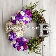 Spring Wreath  Easter Wreath  Tulip Wreath  by TheDoorNextDoor