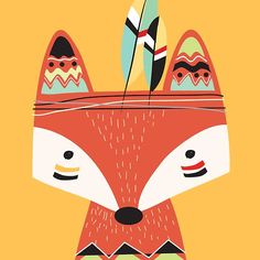 'Cartoon Tribal Red Fox' by peacockcards Woodland Creatures, Woodland Animals, Pet Fox, Cute Animals, Tribal Animals, Wild Animals, Baby Animals, Drawing For Kids, Cute Illustration