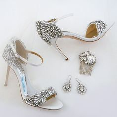 Elevate your glam factor! Bridal sandals by Badgley Mischka, Bridal Jewelry by Cheryl King Couture & bridal hair comb by Erin Cole.