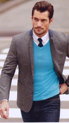 button down, tie, light sweater, jacket & dark wash jeans | DjG