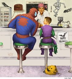 I dig super-hero Americana like this Spider-Man at Halloween piece by Luke Radi