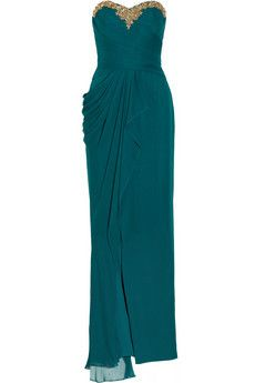 Embellished draped silk chiffon gown by Notte By Marchesa