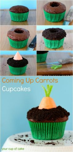 To make these cute cupcakes, all you need is a cupcake, a strawberry dipped in orange candy melts, and green licorice!