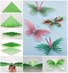 Level: medium // Papierschmetterlinge für den Frühling // Gesehen bei: http://thewhoot.com.au/whoot-news/crafty-corner/paper-butterfly-garland