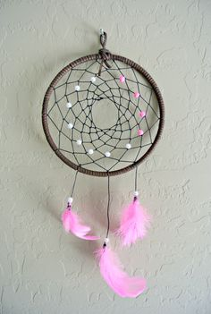 Hot Pink and Brown Dreamcatcher on Etsy. The Dream Boutique.