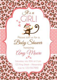 Baby Shower Invitation. Baby girl. Cheetah print by Pipetua