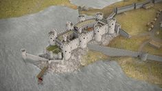 Conwy Castle Medieval Masterpiece on Behance Medieval Life, Medieval Castle, 3d Reconstruction, Castle Illustration, Fantasy Castle, Fortification, Grand Tour, 14th Century, Middle Ages