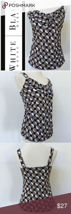 """WHBM Geometric Print Tank EUC. Geometric print multi color tank with ruffle to front neckline.  Measurements are as follows and approximate, taken while garment was laying flat.  Underarm to underarm:  16"""".  Shoulder to hem:  24"""".  Logo is internet stock photo.  All other photos are of actual tank. White House Black Market Tops Tank Tops"""