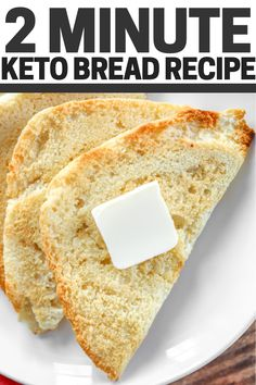 Keto bread in 2 minutes! This is THE BEST easy keto bread recipe - It tastes just like normal white bread, but it's made with almond flour & has Net Carb Easy Keto Bread Recipe, Lowest Carb Bread Recipe, Bread Recipes, Keto Bread Machine Recipe, Carb Free Bread, Low Calorie Bread, Recipe List, Keto Bread Coconut Flour, Desert Recipes