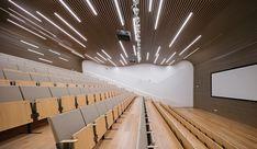 undulating slatted ceiling- strip lighty [INTERDESIGN ASSOC+ HUGO KOHNO ARCH ASS Midwest Commodity Exchange Center]