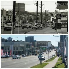 Looking north along Auto Alley, Church Street, Parramatta 1972 > 2016. [Jeff Pickering > Allan Hawley. By Allan Hawley]
