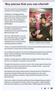 Monday, 23 January 2017 Mail on Sunday - Linda Bee is featured in a double page article in the Mail on Sunday and Mail Online about How to Invest in Jewellery.