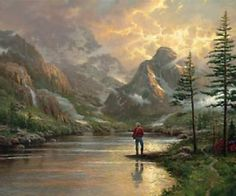 "Thomas Kinkade 1958-2012 Almost Heaven  by Thomas Kinkade  Image Size 20 x 24"" and 24 x 30""    Nothing restores the spirit quite like a breathtaking mountain vista. It just doesn't get much better than it is for this fisherman in Almost Heaven. I love to fish, not so much for the strike or the catch, but simply because fishing gives me license to get out into nature.  -Thomas Kinkade"