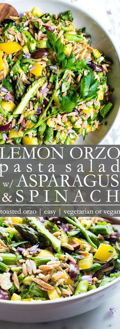 Lemons Orzo salad with asparagus spinach and feta cheese Packaged with vegetables - Pasta - Pasta Salad Lemon Pasta Salads, Orzo Salad Recipes, Healthy Pasta Salad, Asparagus Salad, Spinach Recipes, Healthy Pastas, Healthy Salad Recipes, Pasta Recipes, Vegetarian Recipes