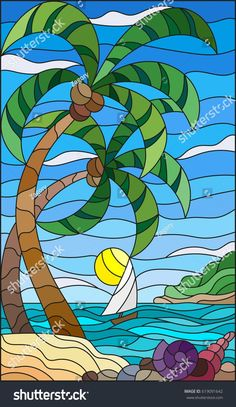 Illustration in stained glass style with a tropical sea, landscape, coconut trees and shells on the sandy beach, a sailboat with a white sail in the distance on the background of Sunny sky and clouds Stained Glass Paint, Stained Glass Designs, Stained Glass Patterns, Glass Painting Designs, Glass Art Design, Mosaic Art, Mosaic Glass, Coconut Tree Drawing, Style Tropical