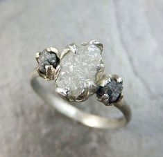 The most beautiful ring I have ever seen ❤️ Diamond Engagement Ring Rough Uncut White Gold Wedding Ring Wedding Set Stacking Ring Rough Diamond Ring 3 stone byAngeline Raw Organic Ring Set, Ring Verlobung, Gold Ring, Silver Rings, Bijou Box, White Gold Wedding Rings, Wedding Sets, Wedding Bands, Bling Bling