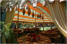 Ideal as a fashionable beach or lawn tent, a stunning wedding tent or exotic themed lounge tent, the regal Maharaja conveys an aura of the majesty of days gone by and is also perfect for a refined, romantic setting.  The Maharaja tent is a traditional pole tent, which requires staking and comes in two sizes. The standard Maharaja is 20' x 34' and the Grand Maharaja, is 27' x 44'.