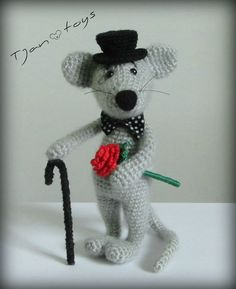 Mouse Dandy :) Soft toy decor, Crochet Handmade, OOAK, Stuffed Animals, Amigurumi. Made to order