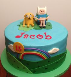 Adventure Time cake. Buttercream w fondant decor.