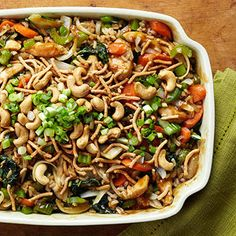 Garlic Cashew Chicken Casserole  You'll forget all about Chinese takeout with this delicious, protein-packed dish. Get a full serving of veggies in each 1-1/3-cup serving of this creamy, crunchy casserole recipe.