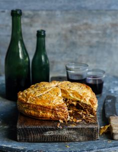 Pulled lamb, rosemary & cheese pie
