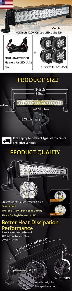 Car Lighting: 24Inch Curved Led Light Bar +2 4 Cree Work Pods Offroad Ford Jeep Suv Truck 20 -> BUY IT NOW ONLY: $54.99 on eBay!